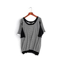 Vogue Solid Color Scoop Neck Stripped Black & White Summer Short Sleeves Knitted Sweater - Lafannie