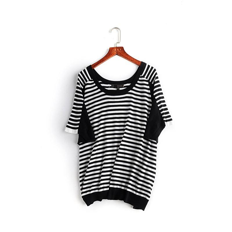My Stuff, Vogue Solid Color Scoop Neck Stripped Black & White Summer Short Sleeves Knitted Sweater -