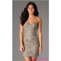 Short Strapless Sweetheart Sequin Scala Dress - Brand Prom Dresses|Beaded Evening Dresses|Unique Dre