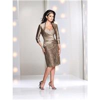 Social Occasions by Mon Cheri - 113843 Short Dress In Taupe - Designer Party Dress & Formal Gown