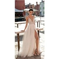 Gali Karten 2018 Sweep Train Spaghetti Straps Split Aline Ivory Sleeveless Tulle Beading Dress For B