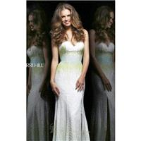 Ivory/Green/Aqua Strapless Beaded Gown by Sherri Hill - Color Your Classy Wardrobe