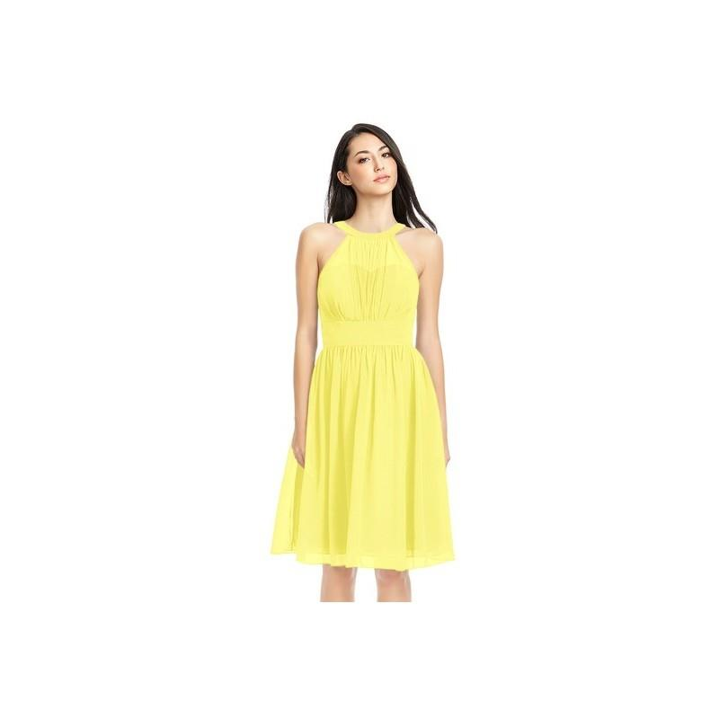 My Stuff, Lemon Azazie Yamilet - Knee Length Illusion Chiffon Halter Dress - Charming Bridesmaids St