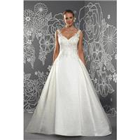 Octavia by Romantica of Devon - Satin Floor Straps  V-Neck A-Line Wedding Dresses - Bridesmaid Dress