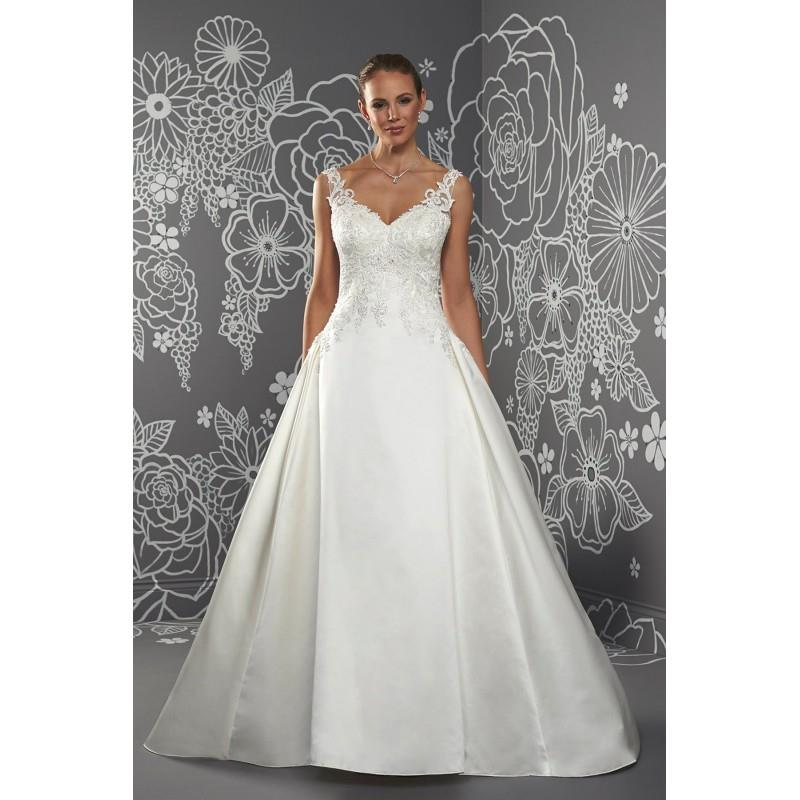 My Stuff, Octavia by Romantica of Devon - Satin Floor Straps  V-Neck A-Line Wedding Dresses - Brides