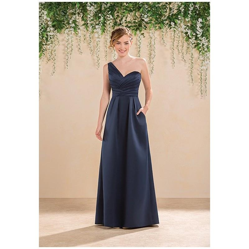 wedding, B2 by Jasmine B183020 - A-Line Blue Satin Floor Natural - Formal Bridesmaid Dresses 2018|Pr