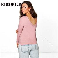 Must-have Vogue Simple Open Back V-neck One Color Fall Edgy 9/10 Sleeves Essential T-shirt Top - Bon