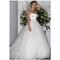 Legends Romona Keveza L6136 - Ball Gown Strapless Natural Floor Chapel Organza - Formal Bridesmaid D