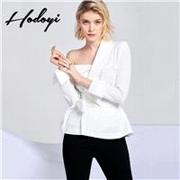 Vogue Sexy Asymmetrical Slimming Off-the-Shoulder One Color Fall Tie 9/10 Sleeves Blouse Suit - Bonn