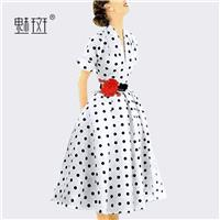 Slimming Curvy A-line Polka Dot Summer Short Sleeves Mid-length Skirt Dress - Bonny YZOZO Boutique S