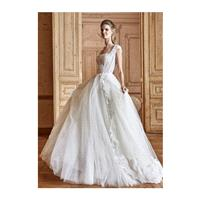 Tarik Ediz 2017 G2028 Sweep Train Ivory Sweet Tulle Appliques Square Ball Gown Cap Sleeves Bridal Go