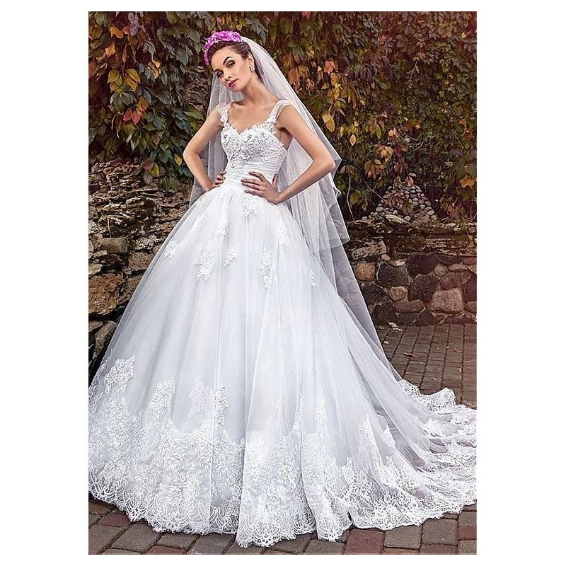 My Stuff, Exquisite Tulle Sweetheart Ball Gown Wedding Dresses With Lace Appliques - overpinks.com