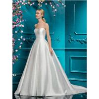 Ellis Bridal 2018 Style 19118 Zipper Up Satin Chapel Train Ivory Simple Sleeveless Sweetheart Ball G