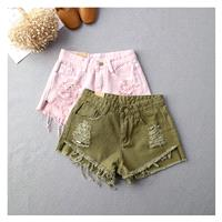 Asymmetrical Fringe Ripped Cowboy Summer Short - Discount Fashion in beenono