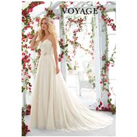 Morilee by Madeline Gardner/Voyage 6818 - A-Line Sweetheart Natural Floor Sweep Tulle Lace - Formal