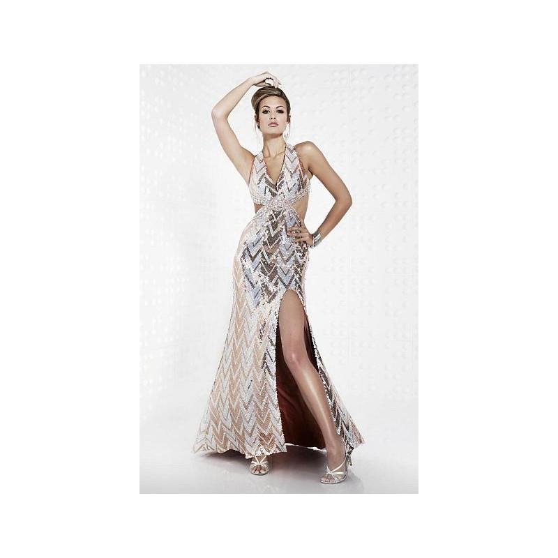 My Stuff, Riva Designs Copper Silver Sequin halter Cut-Out Prom Dress R9473 - Brand Prom Dresses|Bea