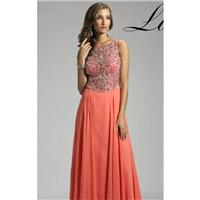 Coral Beaded Embellished Gown by Lara Designs - Color Your Classy Wardrobe