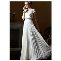 Romantic Chiffon High Collar Neckline Inverted Basque Waistline Sheath Wedding Dress With Rhinestone