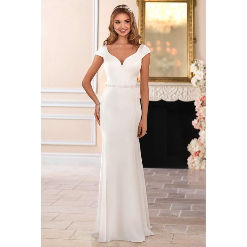 wedding, Style 6409 by Stella York - Ivory  White Crepe Belt  V-Back Floor Sweetheart Body-skimming