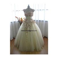 Beautiful Beige Tulle Autumn Fall Wedding Dress CM1005 - Hand-made Beautiful Dresses|Unique Design C