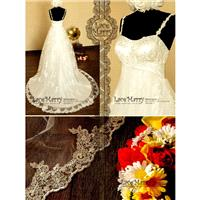 Delicate Flower Appliqué Lace Empire Waist Wedding Dress with Floral Spaghetti Straps and Elaboratel
