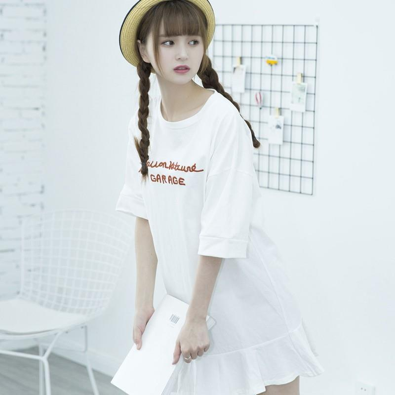 wedding, Casual Oversized Embroidery Scoop Neck Short Sleeves Alphabet Summer Dress - Lafannie Fashi