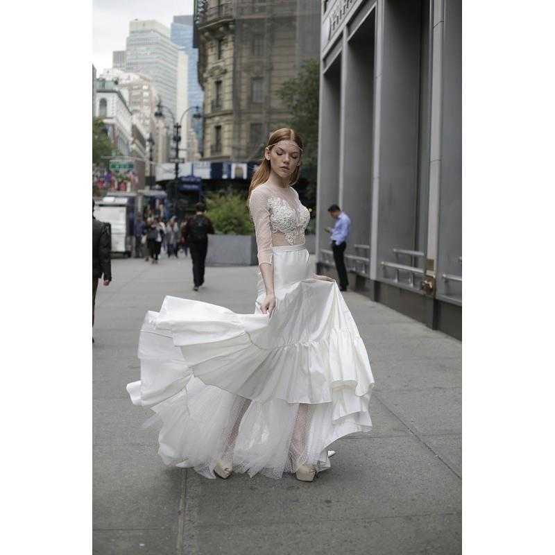 My Stuff, Adam Zohar 2017 Ivory Tulle Beading Sweet Sweep Train Illusion Aline 3/4 Sleeves Wedding D
