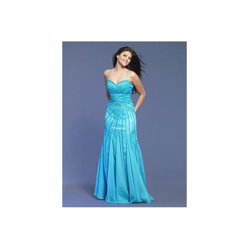 My Stuff, Dave and Johnny Aqua Beaded Chiffon Prom Dress 7701 - Brand Prom Dresses|Beaded Evening Dr