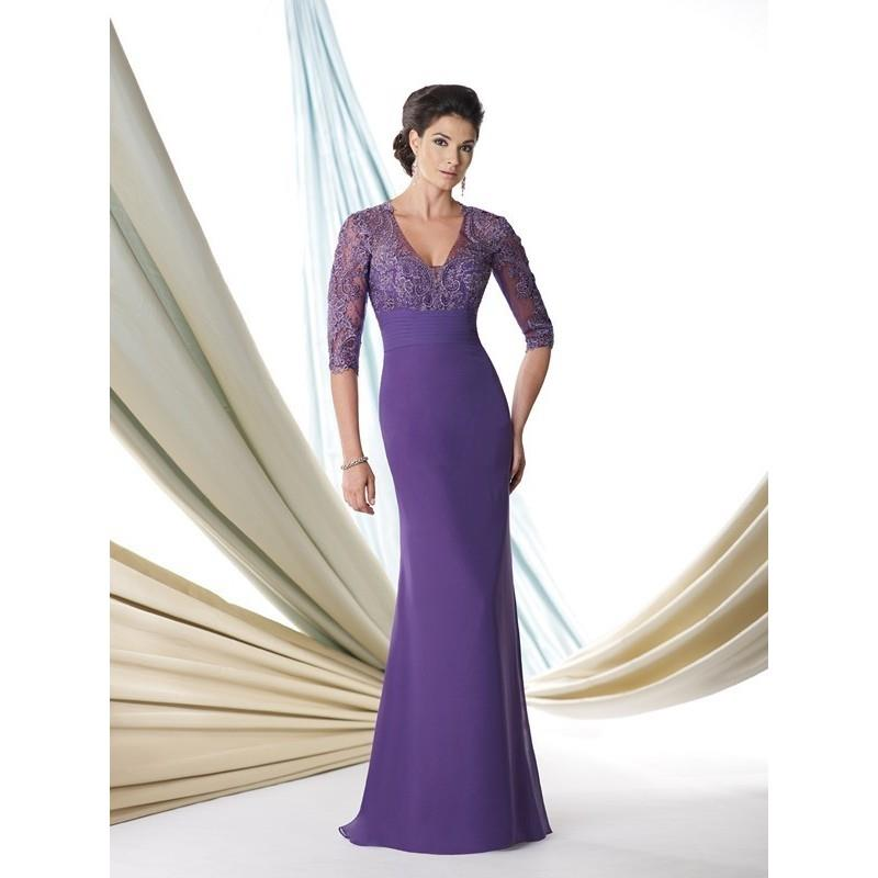 wedding, Montage by Mon Cheri 114907 - Long Montage by Mon Cheri V Neck A Line, Fitted Social and Ev