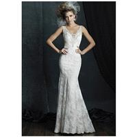 Allure Couture C381 - Sheath V-Neck Natural Floor Chapel Lace Beading - Formal Bridesmaid Dresses 20