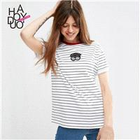 School Style Must-have Sweet Printed Summer Short Sleeves Stripped T-shirt - Bonny YZOZO Boutique St