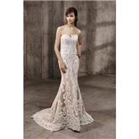 Amal by Badgley Mischka - Taupe  Ivory Lace  Tulle Removable Skirt  Low Back Floor Sweetheart  Strap