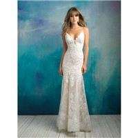 Allure Bridals Spring/Summer 2018 9501 Sweep Train Ivory Fit & Flare Spaghetti Straps Open V Back La
