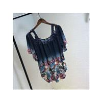 Oversized Split Front Slimming Off-the-Shoulder Sunproof T-shirt Floral Summer Lace Chiffon Top - Di