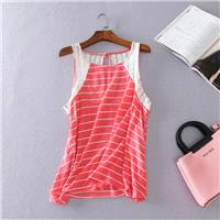 Must-have Split Front Slimming Lace Stripped Soft Comfortable Sleeveless Top - Discount Fashion in b