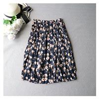 Vintage Printed Pleated Banded Waist Zipper Up Summer Skirt - Lafannie Fashion Shop