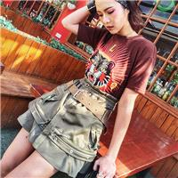 Embroidery High Waisted Short Sleeves Outfit Skirt T-shirt Top - Bonny YZOZO Boutique Store
