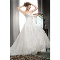 1725 by Kenneth Winston - Ivory Sequin  Organza  Tulle Floor Sweetheart  Jewel  Strapless Wedding Dr