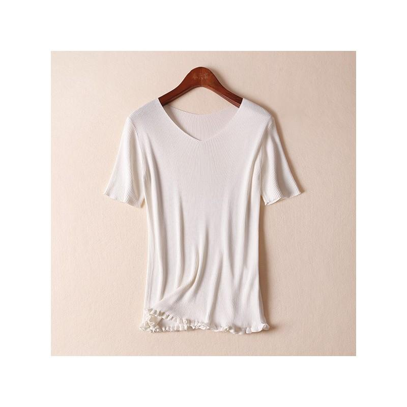 My Stuff, Slimming Comfortable Silk Knitted Sweater T-shirt - Lafannie Fashion Shop