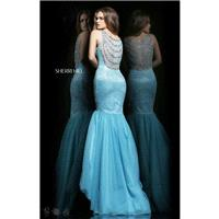 Aqua/Silver Sherri Hill 11090 - Mermaid Sheer Dress - Customize Your Prom Dress