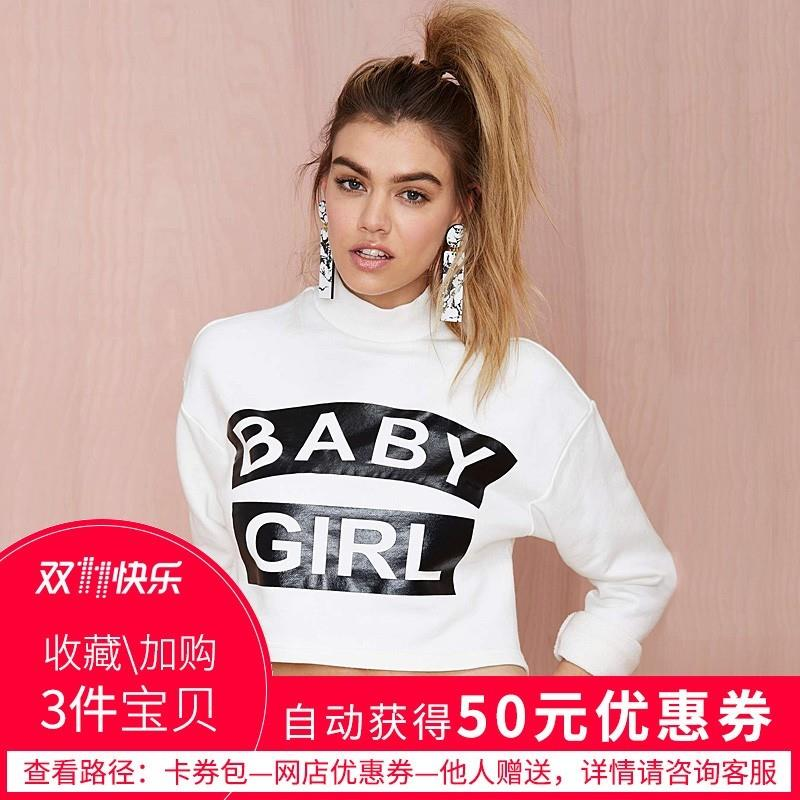My Stuff, Oversized Vogue Sexy Printed High Neck Alphabet 9/10 Sleeves Crop Top T-shirt Top - Bonny