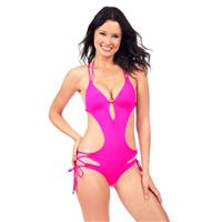 Voda Swim - Bright Pink Envy Push Up Cutout Monokini - Designer Party Dress & Formal Gown