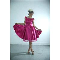 50shouse_ 50s inspired retro feel sweet fuchsia tea length wedding or bridesmaid dress with lace hem