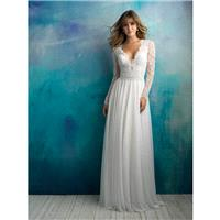 Allure Bridals Spring/Summer 2018 9515 Chapel Train Ivory Sweet V-Neck Aline Long Sleeves Chiffon Be