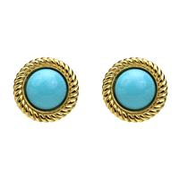 Ben-Amun - St. Tropez Button Earrings in Turquoise - Designer Party Dress & Formal Gown