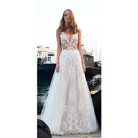Alon Livne Christine 2018 Lace Embroidery Zipper Up Sexy Garden Sleeveless V-Neck Chapel Train Sprin