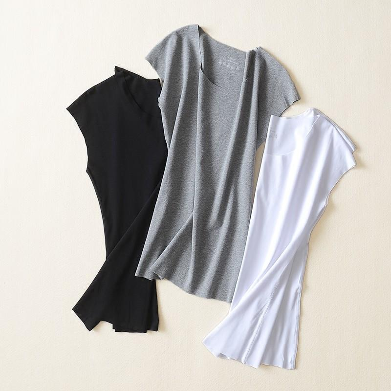 wedding, Slimming Cap Sleeves Flexible Draping Top T-shirt Basics - Lafannie Fashion Shop