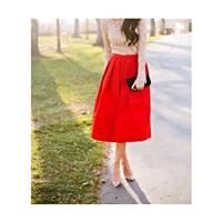 Pleated skirt with long pockets below the knee, Red skirt style cotton 50 years. Made to measure. -
