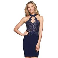 Faviana 10156 Vogue Blue Appliques Charmeuse Mini/Short Sleeveless Keyhole Back Fit & Flare Halter C