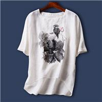 Must-have Oversized Printed Plus Size Short Sleeves Ramie White T-shirt Top Basics - Discount Fashio
